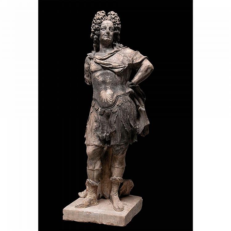 SCULPTURE REPRÉSENTANT LOUIS XIV EN PIERRE FRANCE, XVIIIE SIÈCLE,D'APRÈS LE MODÈLE DE MARTIN VAN DEN BOGAERT, DIT DESJARDINS (1637-1694)
