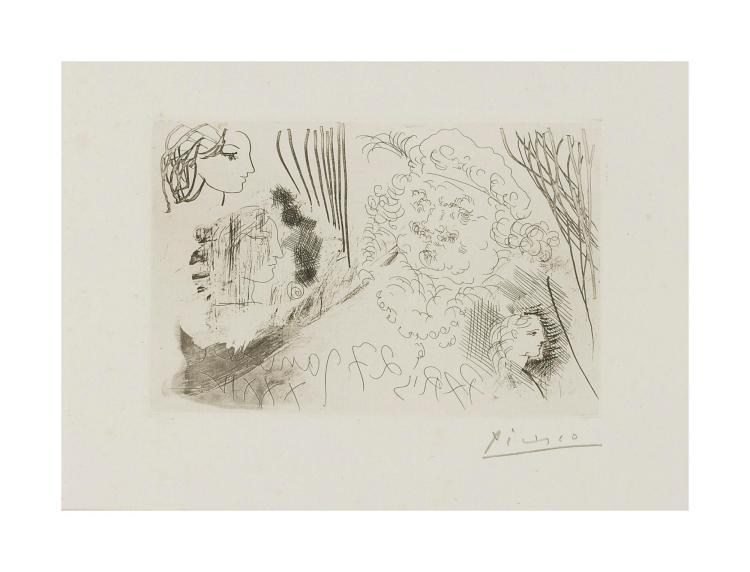 PABLO PICASSO | Feuille d'études. Profils de Marie-Thérèse et tête de Rembrandt au beret (Bloch 207; Baer 405)
