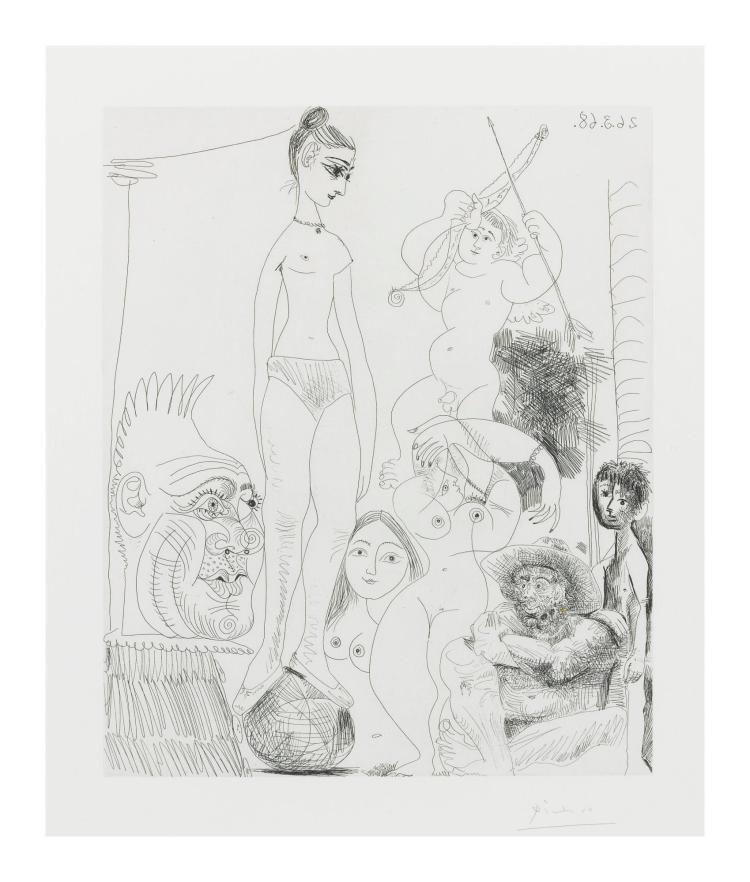 PABLO PICASSO | Autoportrait Transposé et Dédoublé Rêvant au Cirque, avec Jacqueline en Acrobate à la Boule (Bloch 1489, Baer 1504)