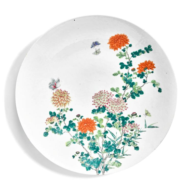 A LARGE FAMILLE-ROSE 'CHRYSANTHEMUM' DISH LATE QING DYNASTY |