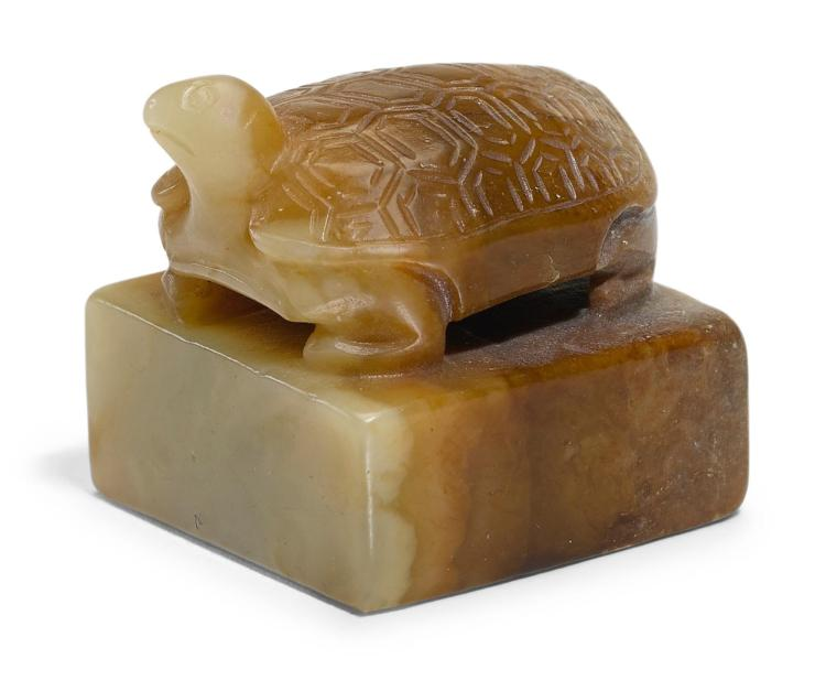 A JADE 'TURTLE' SEAL,  HAN DYNASTY OR LATER |