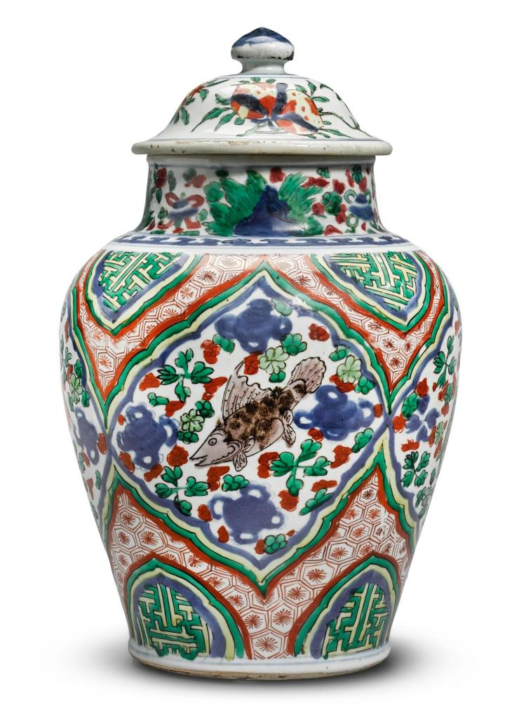 A WUCAI 'FISH' JAR AND COVER 17TH CENTURY |