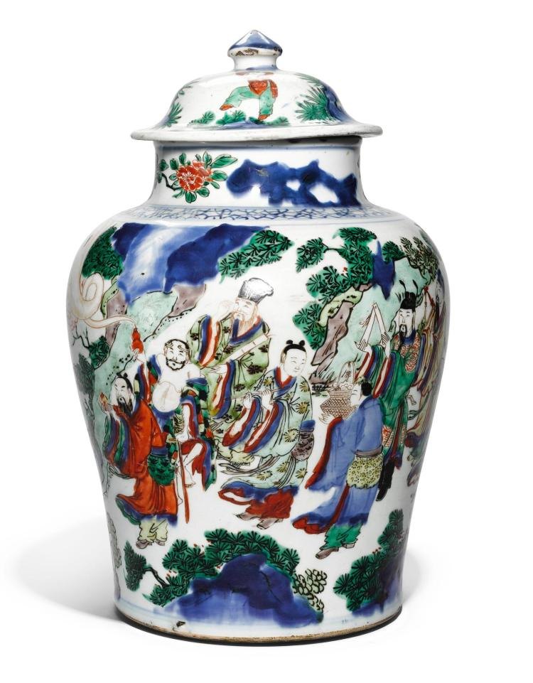 A POLYCHROME 'IMMORTALS' JAR AND COVER QING DYNASTY, 17TH CENTURY |