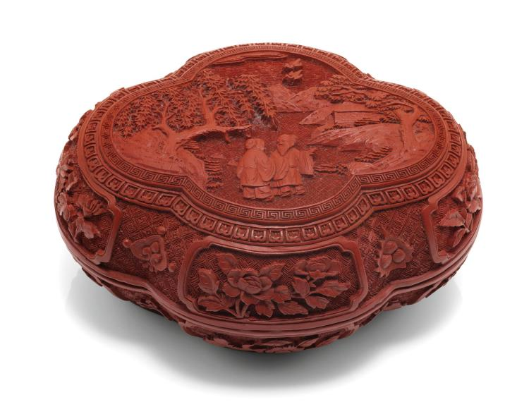 A LOBED CINNABAR LACQUER BOX AND COVER QING DYNASTY, QIANLONG PERIOD  