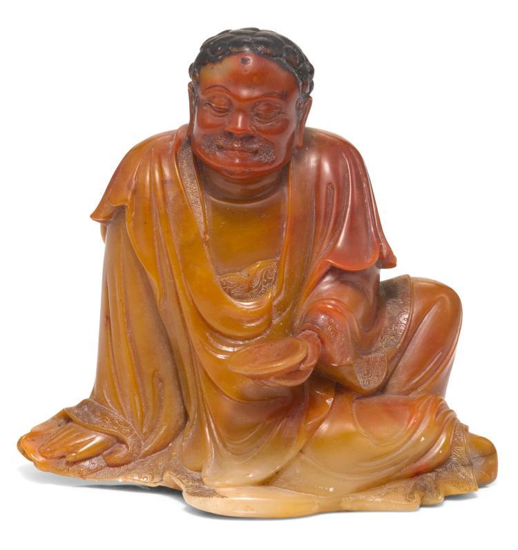 A SOAPSTONE FIGURE OF BODHIDHARMA 17TH CENTURY |