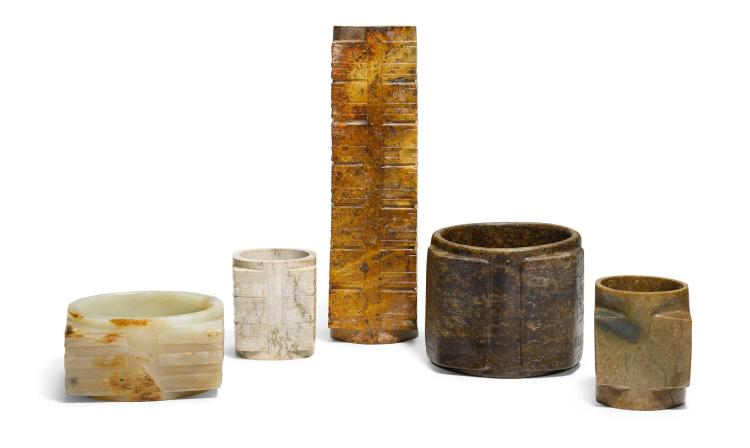 A STUDY GROUP OF ARCHAISTIC JADE CONG |