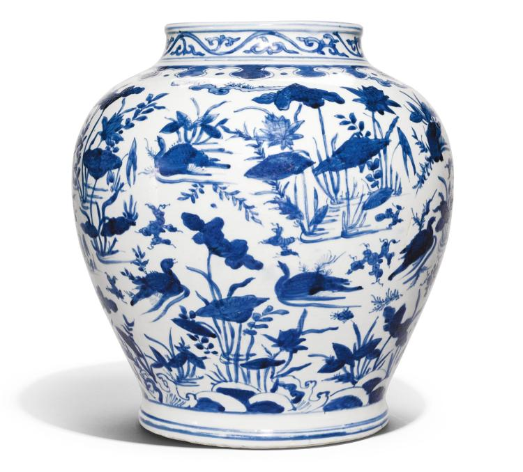 A LARGE BLUE AND WHITE 'LOTUS POND' JAR MING DYNASTY, WANLI PERIOD |