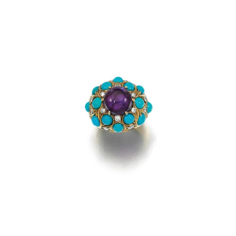AMETHYST, TURQUOISE AND DIAMOND RING, CARTIER, 1960S