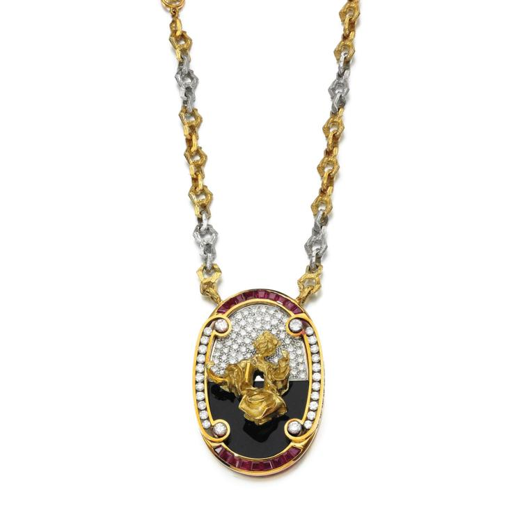RUBY, ONYX AND DIAMOND PENDENT NECKLACE,