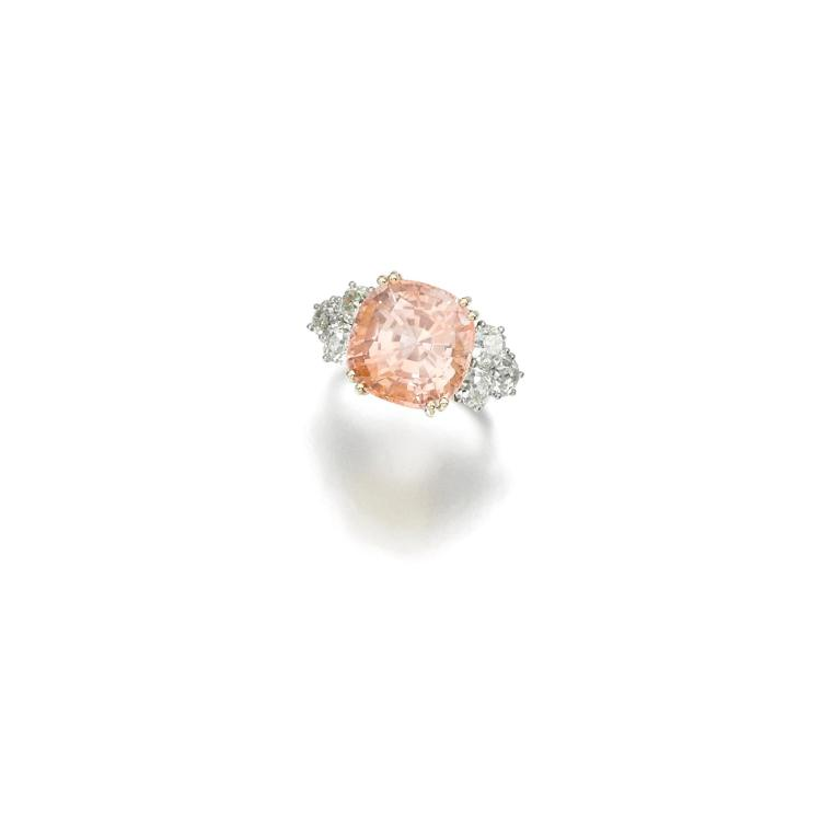 PADPARADSCHA AND DIAMOND RING, CHAUMET, 1940S