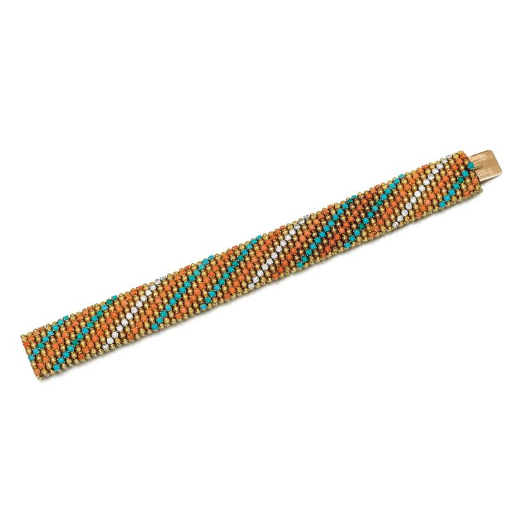 TURQUOISE, CORAL AND DIAMOND BRACELET, 1960S