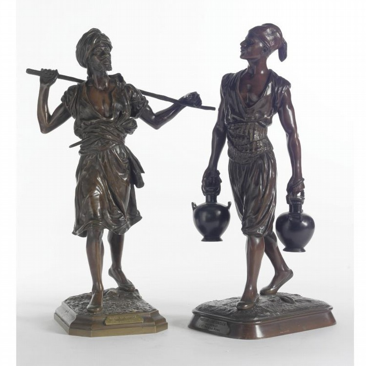 A SET OF TWO PATINATED BRONZE ORIENTALIST FIGURES FRENCH, LATE 19TH CENTURY