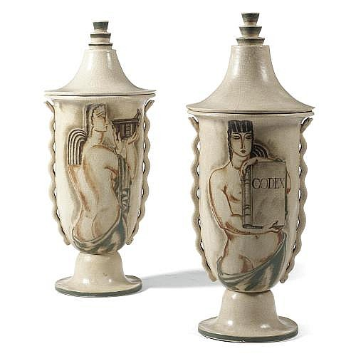 w - René Buthaud , A pair of monumental jars and covers