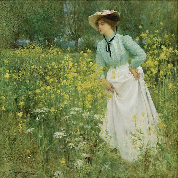 f - Arthur Hacker, R.A. 1858-1919 , a morning walk oil on canvas