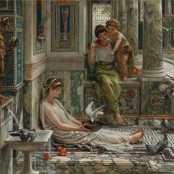 f - Sir Edward John Poynter, Bt., P.R.A., R.W.S. 1836-1919 , the corner of the villa oil on canvas