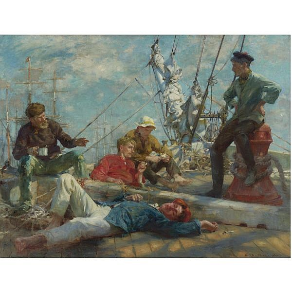 f - Henry Scott Tuke, R.A., R.W.S. 1858-1929 , sailor's yarning, midday rest oil on canvas