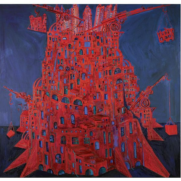 Maxim Kantor , b.1957 red tower oil on canvas