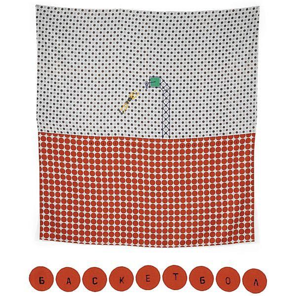 Timur Novikov , 1958-2002 basketball acrylic on textile