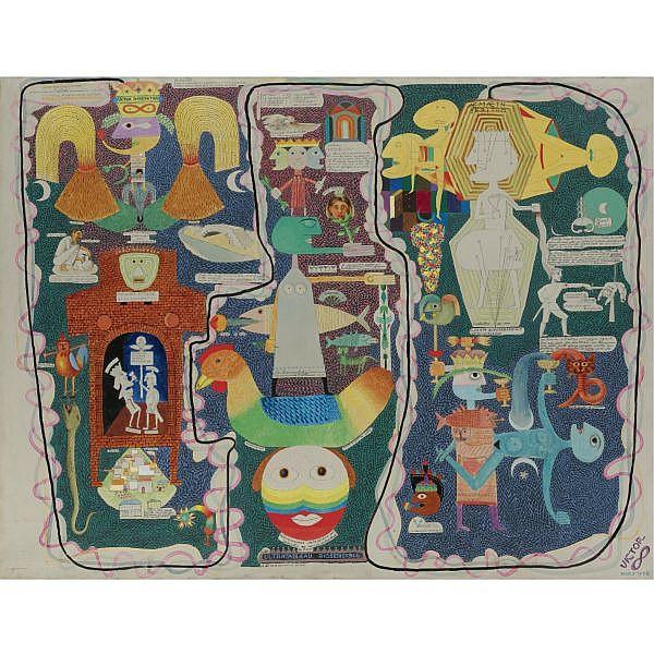 Victor Brauner , 1903-1966 Tableau Autobiographique - Ultratableau Biosensible Oil, pen, pencil and wash on canvas
