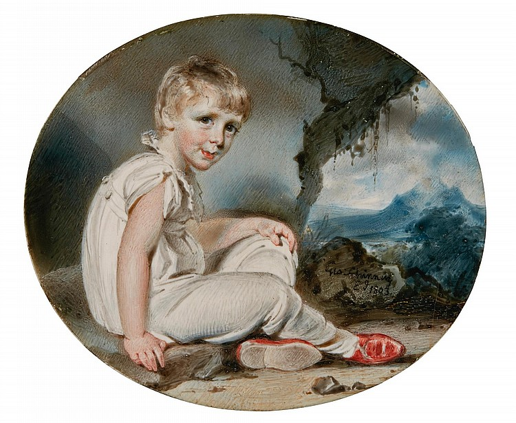 GEORGE CHINNERY | Portrait of young boy seated in an Indian landscape