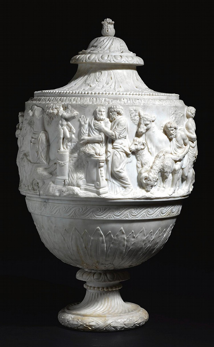 AN ITALIAN CARVED WHITE MARBLE LIDDED VASE FIRST HALF 19TH CENTURY | Vase with a Frieze depicting an Apollonian Sacrificial Procession