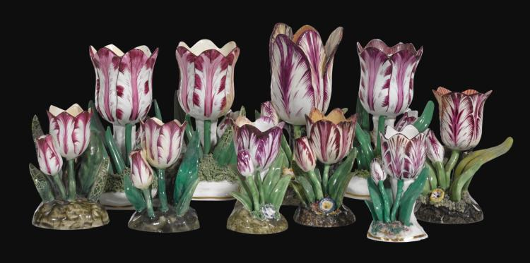 A COLLECTION OF TWELVE STAFFORDSHIRE TULIP-SHAPED SPILL VASES, SECOND QUARTER 19TH CENTURY |