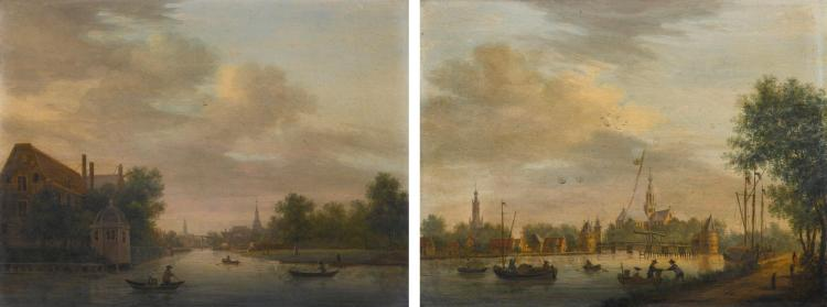 CIRCLE OF PAULUS CONSTANTIJN LA FARGUE | View of an Amsterdam canal near the Timber Yards, with figures in boats, a pavilion on the bank; View of a canal with a drawbridge, with figures in boats and on the bank, a church beyond