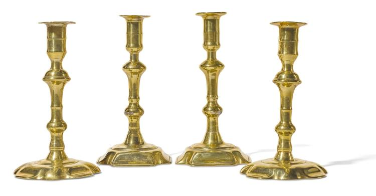 TWO PAIRS OF GEORGE II BRASS CANDLESTICKS, MID 18TH CENTURY |