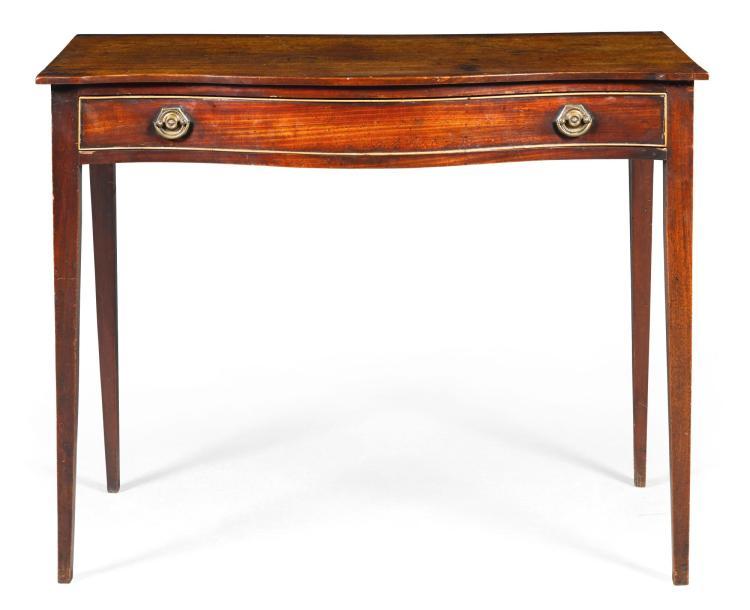 A GEORGE III MAHOGANY SERPENTINE SIDE TABLE, CIRCA 1790 |