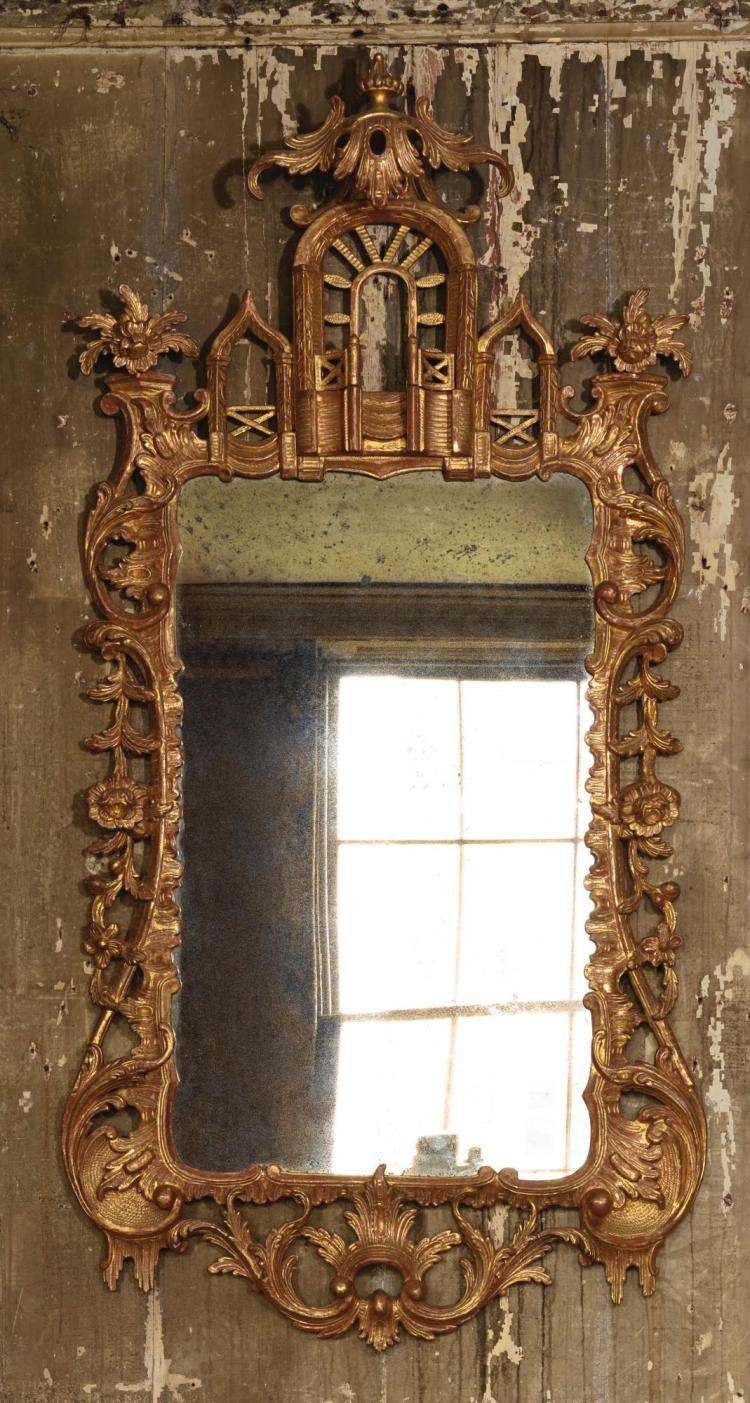 A GEORGE III CARVED GILTWOOD PIER MIRROR, CIRCA 1760, POSSIBLY IRISH |