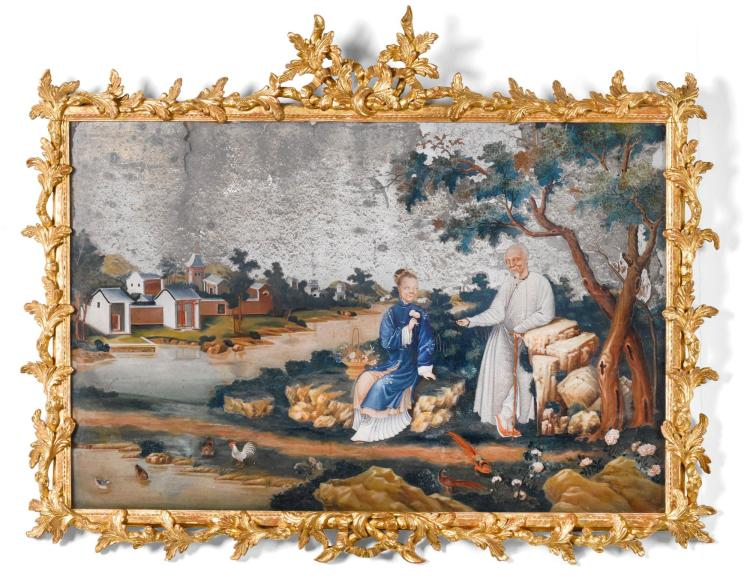 A CHINESE EXPORT REVERSE PAINTED GLASS MIRROR, MID 18TH CENTURY  