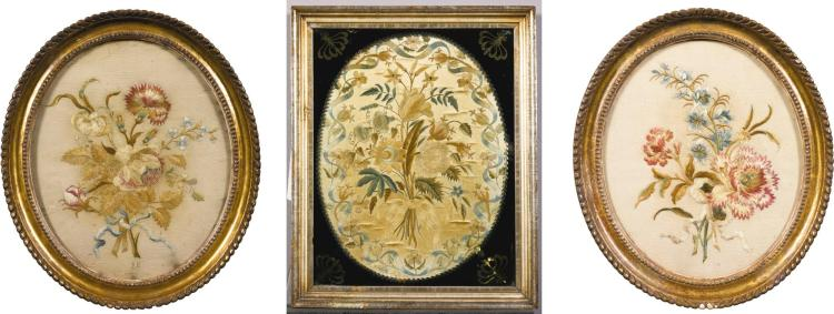 A PAIR OF GEORGE III SILK NEEDLEWORK PICTURES BY THE KYNASTON SISTERS, DATED 1787, ONE INITIALED S.K. THE OTHER INDISTINCTLY INITIALED S.K. |