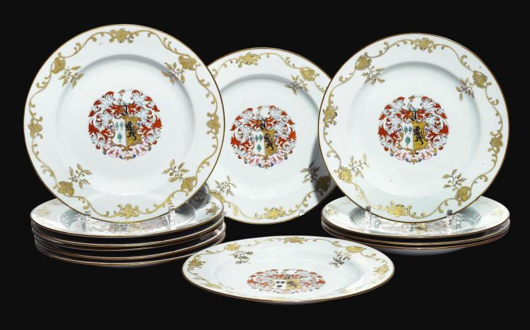 A GROUP OF TWELVE FAMILLE ROSE ARMORIAL PLATES QING DYNASTY, QIANLONG PERIOD, CIRCA 1750 |