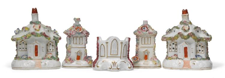 A PAIROF STAFFORDSHIRE PORCELAIN COTTAGE PASTILLE BURNERS AND A PAIR OF HOUSE MODELS, LATE 19TH CENTURY |