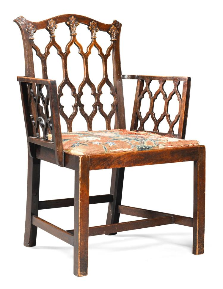 A GEORGE III MAHOGANY OPEN ARMCHAIR IN THE GOTHIC TASTE, CIRCA 1780 |