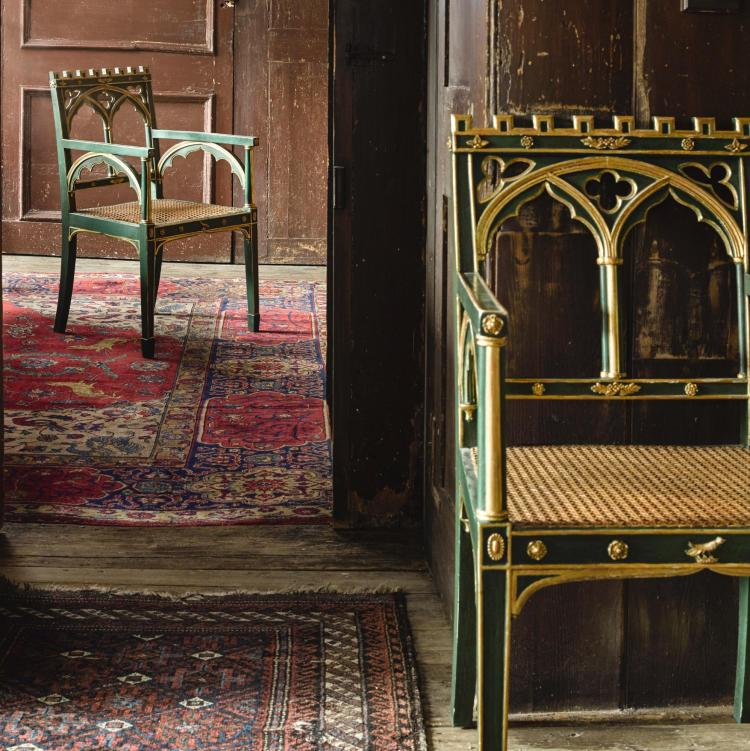 A PAIR OF GEORGE III PARCEL-GILT AND GREEN PAINTED ARMCHAIRS, LAST QUARTER 18TH CENTURY, IN THE MANNER OF JAMES WYATT |