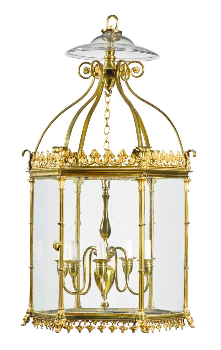 A GEORGE III GILT-BRASS HALL LANTERN, CIRCA 1770 |