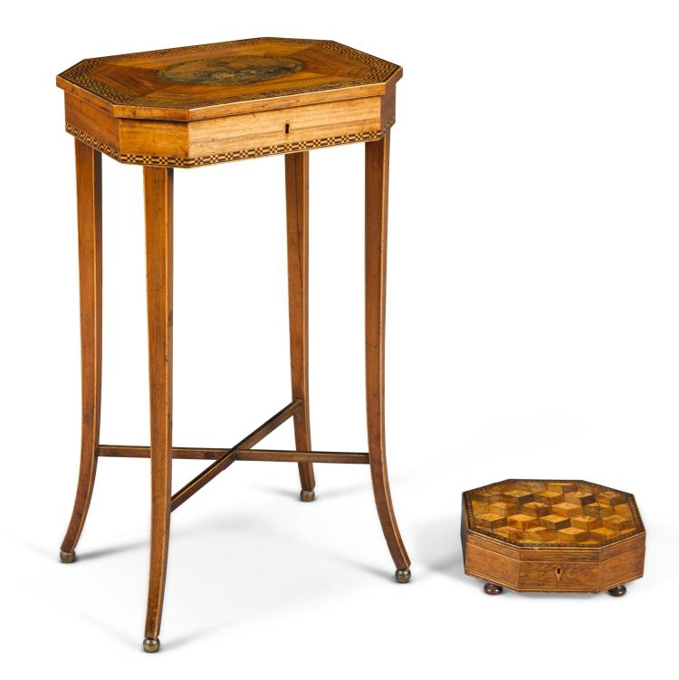 A GEORGE III CHEQUERBANDED KINGWOOD WORK TABLE, LATE 18TH CENTURY |