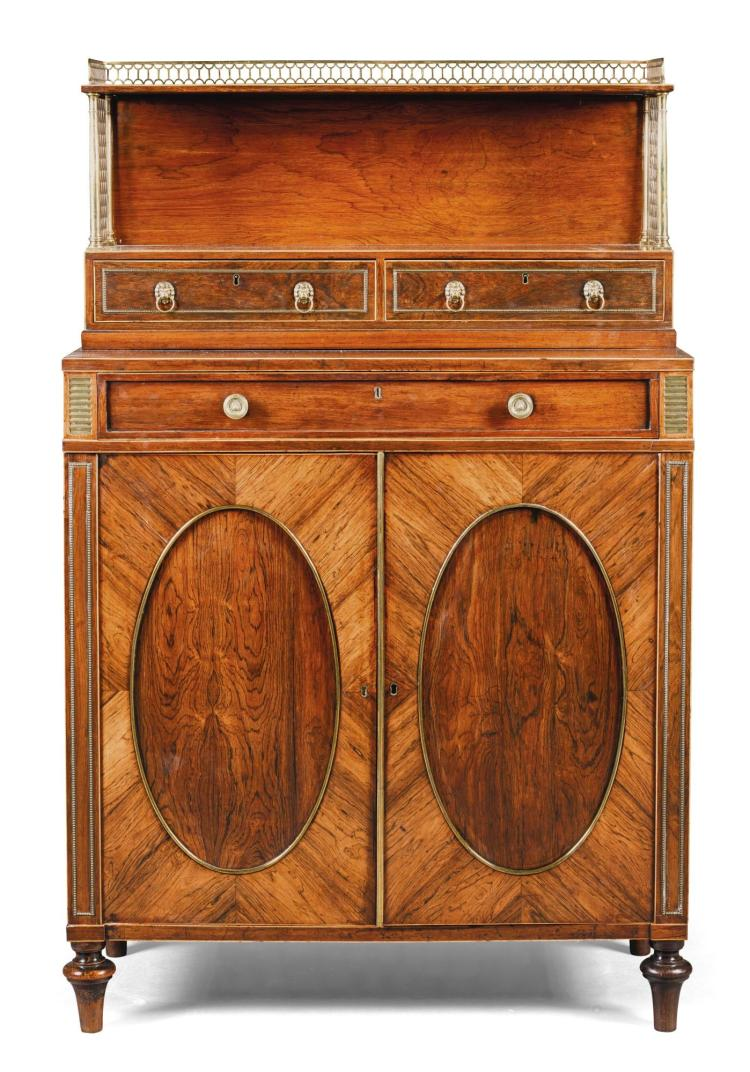 A REGENCY GILT-BRASS MOUNTED ROSEWOOD SIDE CABINET, CIRCA 1815, IN THE MANNER OF JOHN MCLEAN |