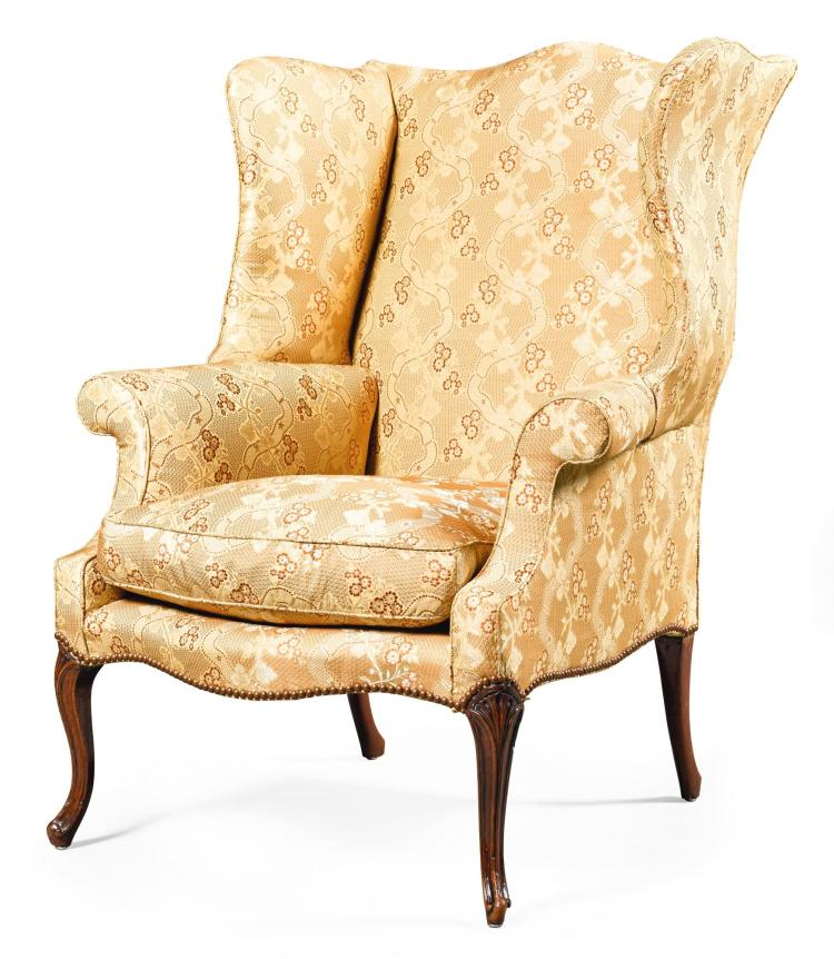A GEORGE III MAHOGANY AND UPHOLSTERED WINGBACK ARMCHAIR, CIRCA 1775 |