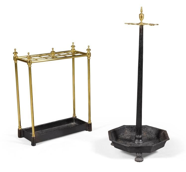 A REGENCY BRASS MOUNTED CAST-IRON STICK STAND, FIRST QUARTER 19TH CENTURY |