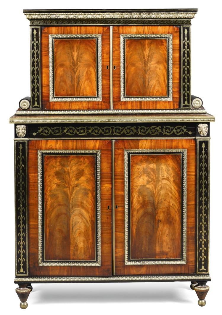 A REGENCY BRASS MOUNTED AND INLAID EBONY, MAHOGANY AND ROSEWOOD CABINET, CIRCA 1810, IN THE MANNER OF GEORGE BULLOCK |