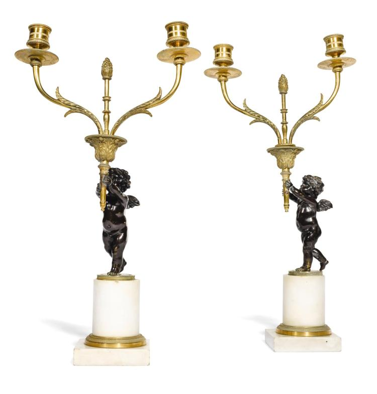 A PAIR OF LOUIS XVI STYLE GILT, PATINATED BRONZE AND MARBLE CANDLESTICKS, LATE 19TH CENTURY |