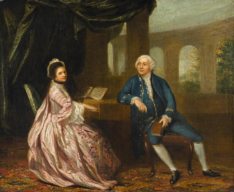 CIRCLE OF JOHANN ZOFFANY, R.A. | Portrait of David Ashton of Ashbrook, Stockton, and his wife Penelope