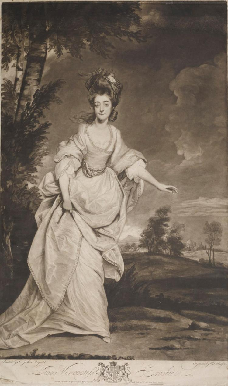 A PRINT OF DIANA VISCOUNTESS CROSBIE AFTER SIR JOSHUA REYNOLDS, CIRCA 1779, ENGRAVED BY W. DICKINSON AND WATSON  |