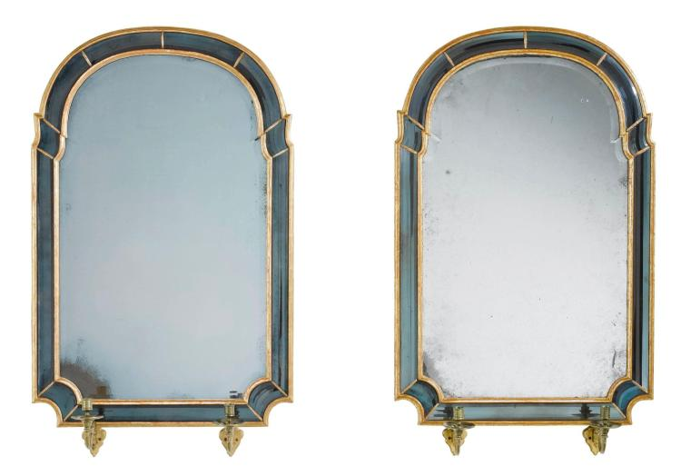 A PAIR OF GILTWOOD AND BLUE GLASS-BORDERED GIRANDOLES, ONE QUEEN ANNE CIRCA 1710, THE OTHER 20TH CENTURY AND POSSIBLY INCORPORATING EARLIER PLATES |