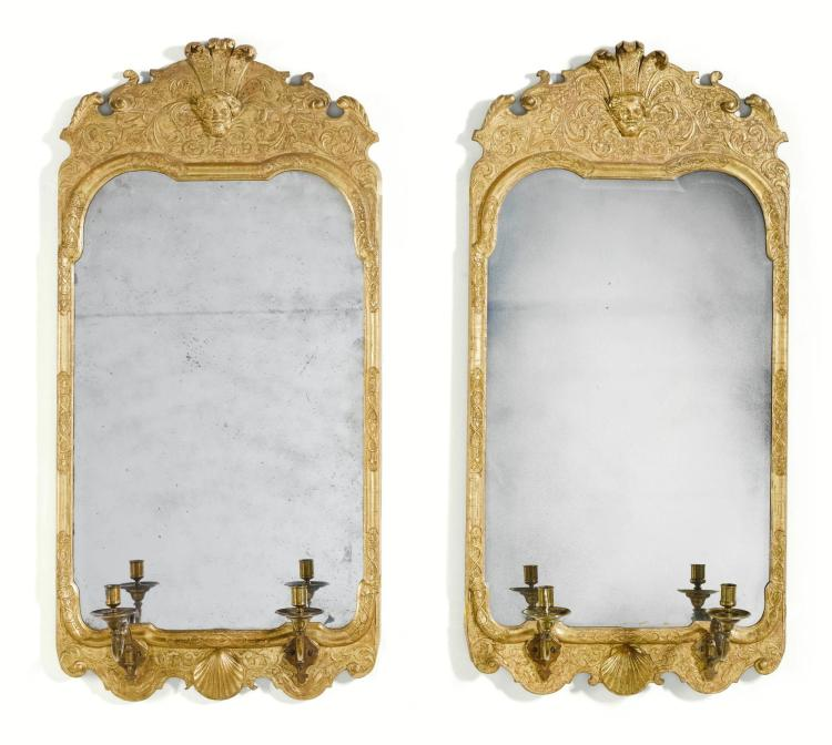 A PAIR OF GEORGE I GILTWOOD MIRRORS, CIRCA 1725 |