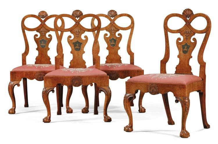 A SET OF FOUR GEORGE II WALNUT SIDE CHAIRS, CIRCA 1730 |