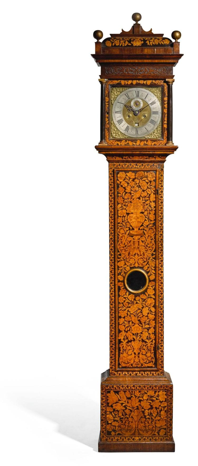 A WILLIAM III WALNUT MARQUETRY LONGCASE CLOCK, JOHN CLOWES, LONDON, CIRCA 1700 |