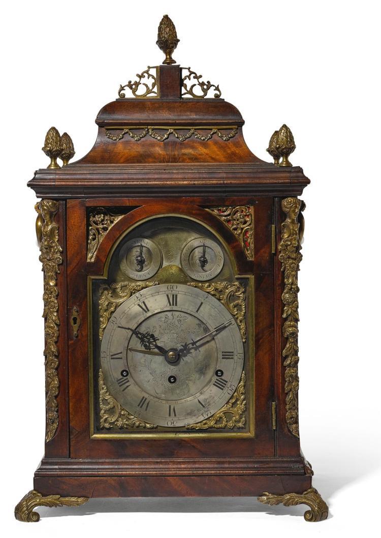 A GEORGE III GILT-MOUNTED MAHOGANY QUARTER CHIMING ANDMUSICAL TABLE CLOCK, THOMAS LOZANO, LONDON, CIRCA 1785 |
